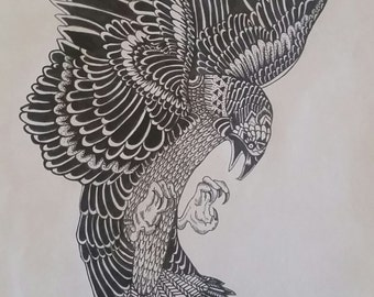 Detailed bird ink drawing
