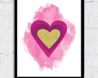 Abstract Heart Print, Love Print, Heart, Printable gift, Downloadable Print, Nursery Print, Valentine Poster, Heart of Gold, Printable Decor