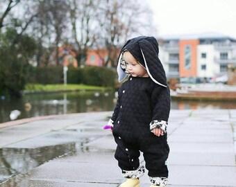 68b4a4502 Reversible Pram suit - Snowsuit - Onesie - Bunny Pramsuit - Baby Jacket -  Toddler Coat - Bunny jacket - Baby Clothing - Monochrome Baby