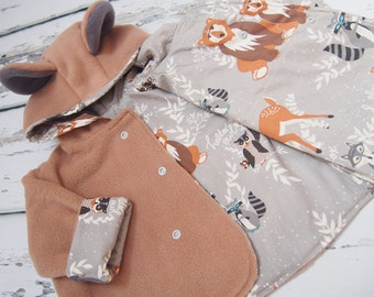 Bear Jacket - Bear Coat - Boys clothes - Girls clothing - Baby jacket - Animal Coat - Animal costume - Baby Clothes - Fleece Hoodie - Ears