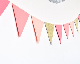 Coral Peach Gold Flag Bunting, Paper Garland, Birthday Party Decor, Wedding Decor, Shower Decor, Nursery