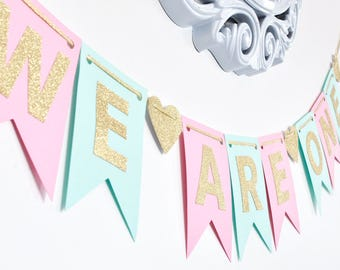 We Are/I Am ONE Banner, Mint Pink and gold, Birthday Banner, Photo Prop, First Birthday