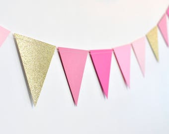 Shades of Pink and Gold Triangle Flag Bunting, Paper Garland, Birthday Party Decor, Wedding Decor, Shower Decor, Nursery
