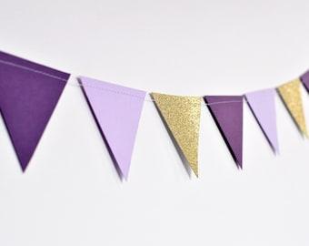 Purple and Gold Flag Bunting, Paper Garland, Birthday Party Decor, Wedding Decor, Shower Decor, Nursery