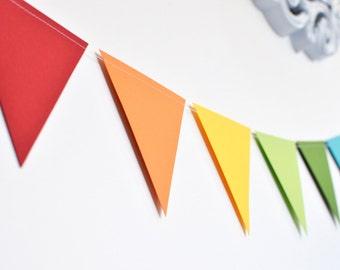 Rainbow Flag Bunting, Paper Garland, Birthday Party Decor, Wedding Decor, Shower Decor, Nursery