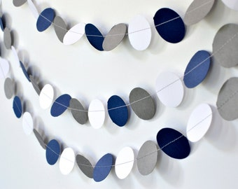 Navy Grey White, 10ft Paper Garland, Wedding Decor, Birthday Party Decor, Wedding Shower Decor, Nursery Decor