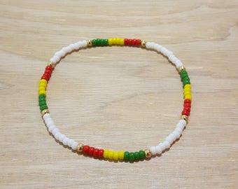 Rasta Bracelet, Rasta Bead Bracelet, White Rasta Bracelet, Green Yellow Red Bracelet, African Bead Bracelet, Ethiopian Bracelet
