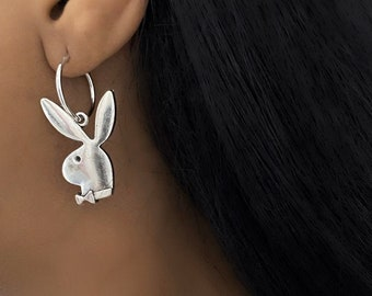Playboy Ohrringe Ohrstecker rund Bunny Strass