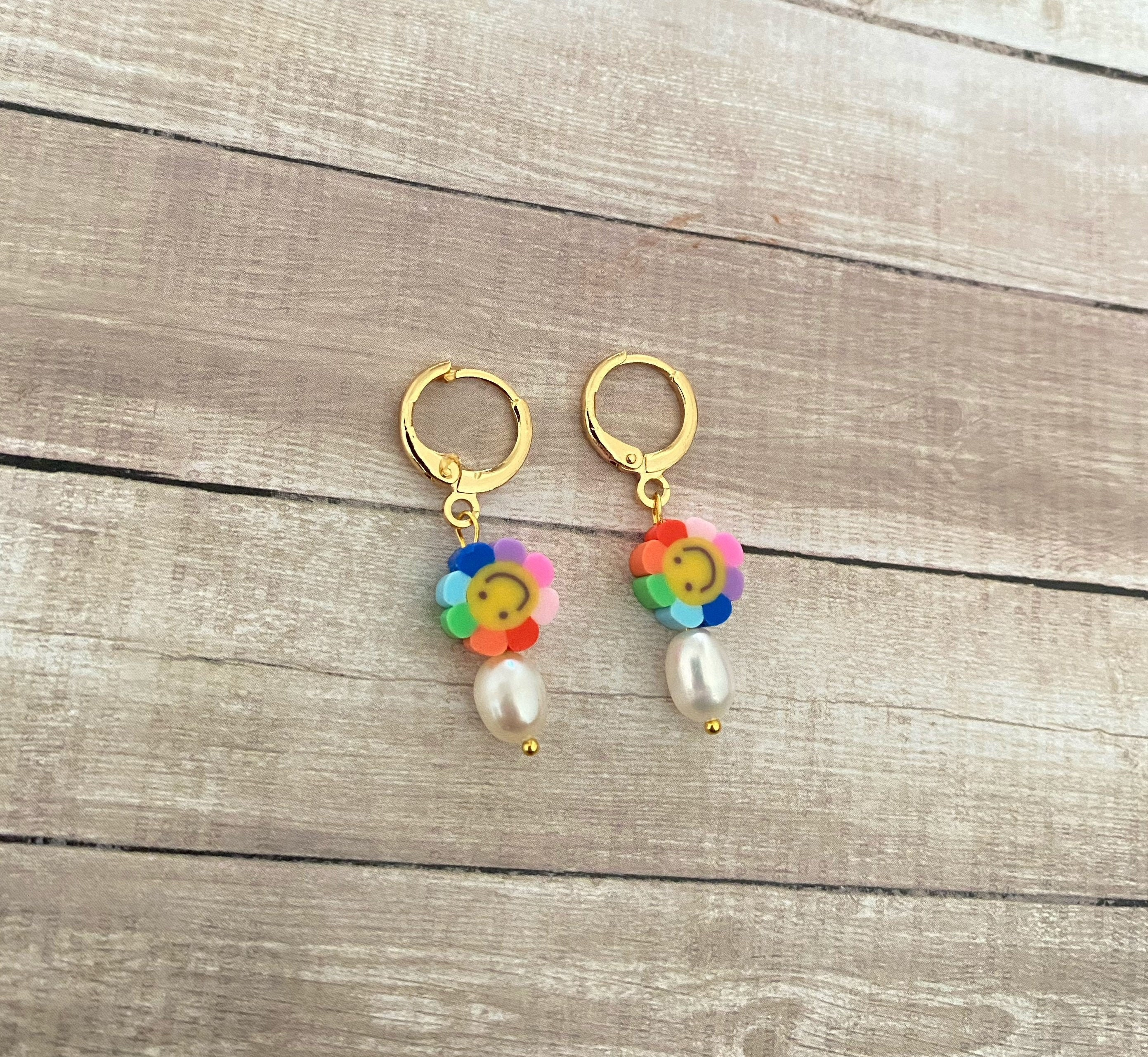 Smiley Face Hoops, Smiley Face Earrings, Gold Charm Hoops, Charm Earrings, Rainbow Earrings, Rainbow Jewelry, Happy Face Hoops