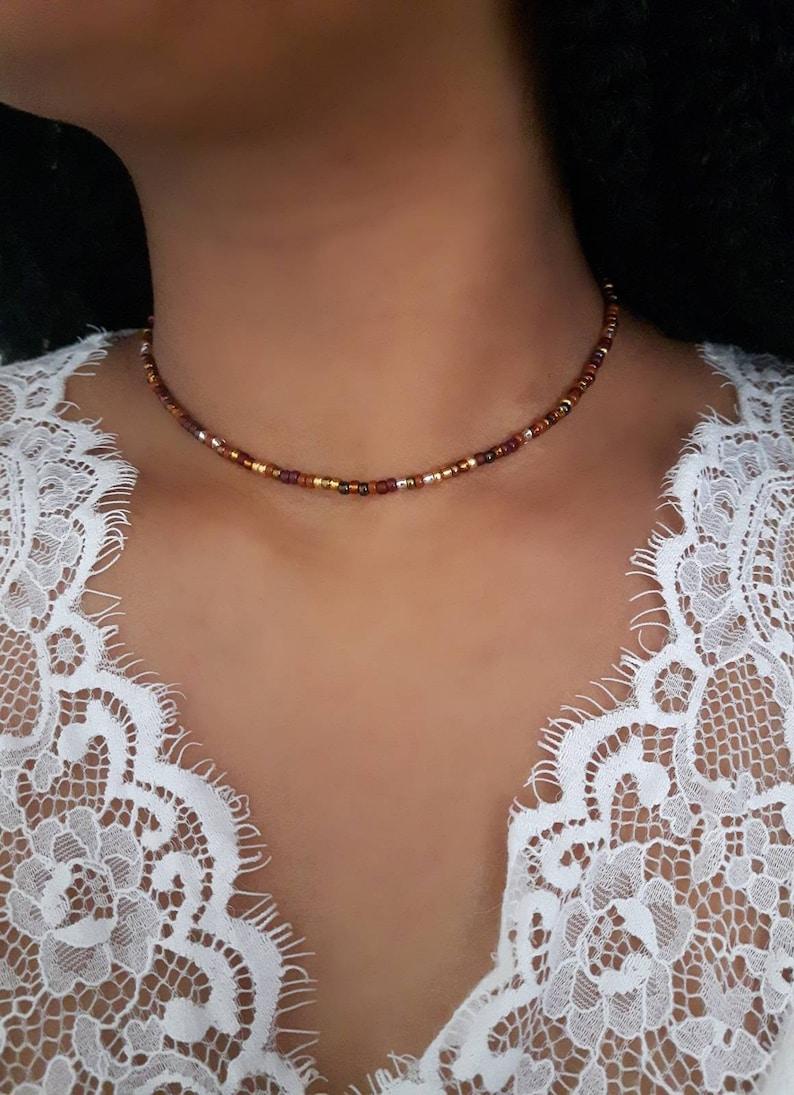 Topaz Bead Choker Gold Seed Choker Bronze Bead Choker Brown Beaded Choker Gold Beaded Choker Bronze Bead Necklace