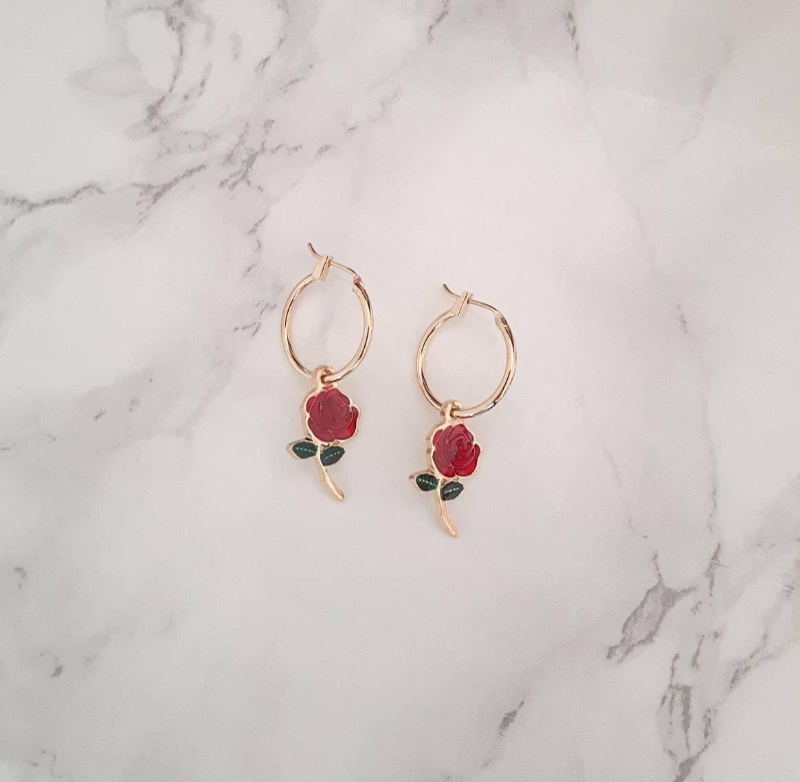 Gold Charm Hoops, Gold Hoop Earrings, Rose Hoop Earrings, Rose Enamel Hoops, Dainty Gold Hoops, Dainty Gold Earrings, Gold Charm Earrings