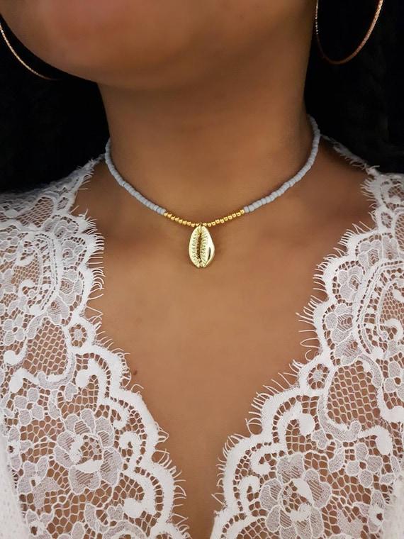 White and Gold Bead Choker White Seed Choker White Seed Necklace Seed Bead Choker Gold Cowrie Choker Gold Seashell Choker