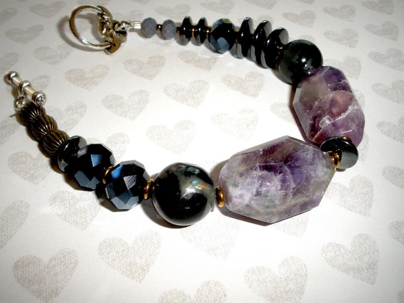 Statement PURPLE AMETHYST Bracelet HandcraftedBohemian Colorful Beaded Handmade Bracelet =