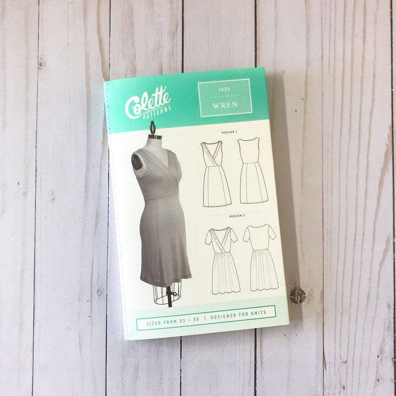 The Wren Dress by Colette Patterns Paper Sewing Pattern Sleeveless or Short Sleeve Wrap Dress Pattern Womens sizes XS to 3X