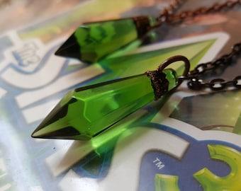 Sims necklace - sims 3 plumbob green crystal diamond character gamer nerd nerdy pendant