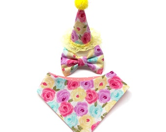 Floral Mini Cat Party Hat Birthday For Or Small Dog Pet