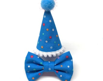 Blue Mini Cat Party Hat Polka Dot Birthday For Or Small Dog Pet