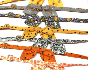 Fall Cat Collar with Bunny Ears Bow, Skull and Bats Cat Bow Tie Breakaway Buckle