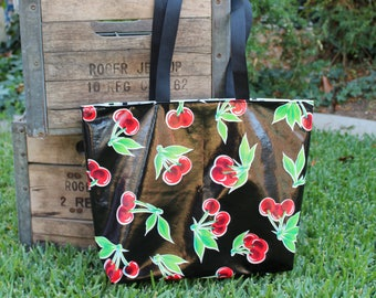 Market Tote - Grocery Shopping Bag- Farmer's Market Tote - Red Cherries - Oilcloth Tote - Reversible Oilcloth Tote - GladstoneCottage