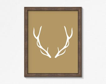 Gold Deer Antlers, White and Gold Print, Animal Wall Art, Modern Art, Instant Download, DIY, Printable, Square, Vertical