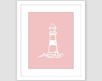 Lighthouse Print, Rose Pink and White Print, Ocean Nautical Wall Art, Modern Art, Instant Download, DIY, Printable