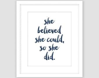 Navy Blue and White Typography Print, She Believed She Could So She Did, Inspirational Quote Wall Art, DIY, Printable