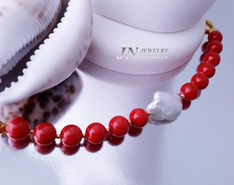 02898188e Red Coral Smooth Round Beads Shell Pearl Smooth Round Beads Bracelet White  Keshi Freshwater Pearl Bracelet Bead Work Bracelet Gift for Her. '