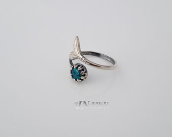 41R Oxidized Sterling Silver 925 Ring Setting with Mermaid and Synthetic Opal Gift For Her