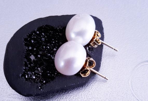 New Genuine Freshwater Pearl Sterling Silver Earrings Dark Cream Approx 10mm