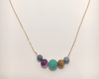 Mixed Opal and Amazonite Necklace Half-moon Shape