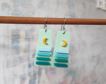 Moonlight waves - limited edition acrylic earrings
