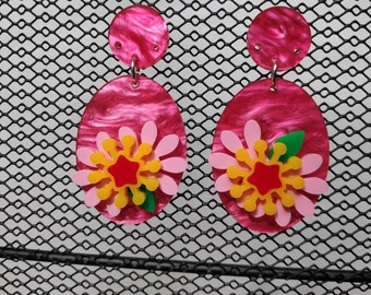 Dimensional flower acrylic statement earrings - one only!