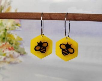 Geo Bee - limited edition acrylic earrings