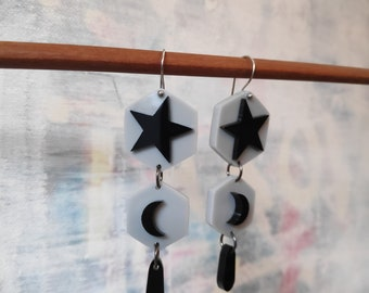 Wicced moon and stars - limited edition acrylic earrings