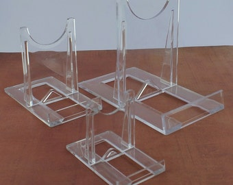 3 Adjustable Two Part Clear Acrylic Stands - Medium, Easel Holds Agate Slices, Fossils Minerals and other Collectible Display Specimens