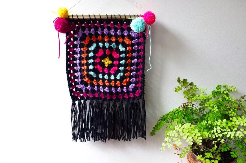 Crochet wall hanging/ hippie wall art/ boho wall hanging/ home image 0