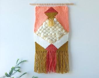 Woven wall hanging in blush pink, gold & cream/ tapestry weaving/ modern wall art/ home decor/ living room/ fibre art/ wall weaving