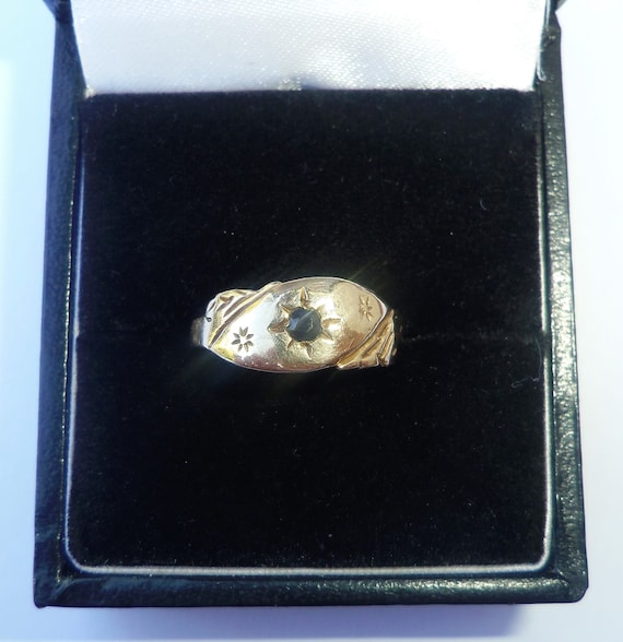 Antique Style 9ct Gold Sapphire Ring, Size K1/2 - image 4