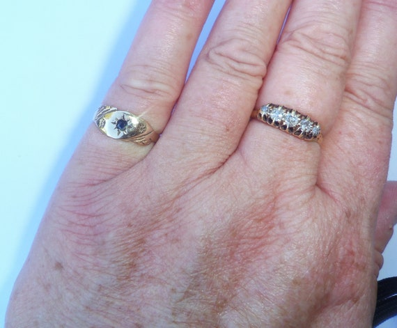 Antique Style 9ct Gold Sapphire Ring, Size K1/2 - image 8