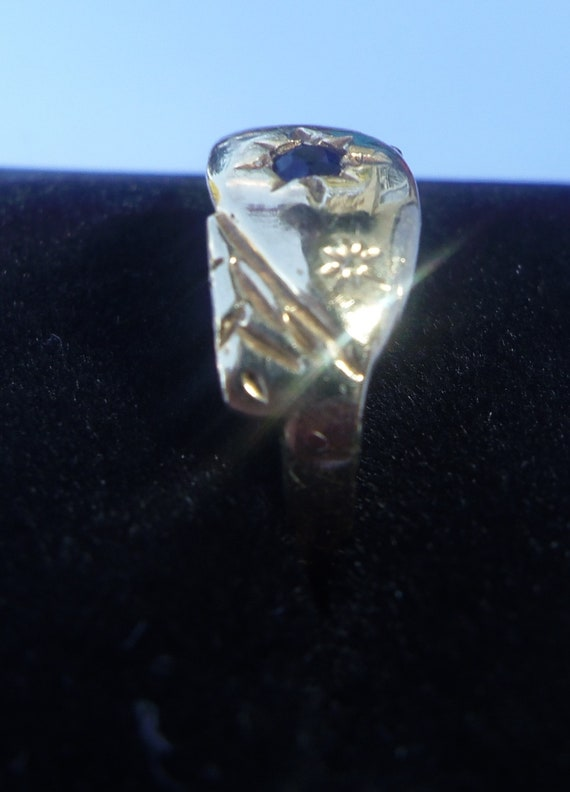 Antique Style 9ct Gold Sapphire Ring, Size K1/2 - image 5