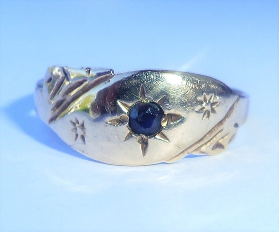 Antique Style 9ct Gold Sapphire Ring, Size K1/2 - image 1