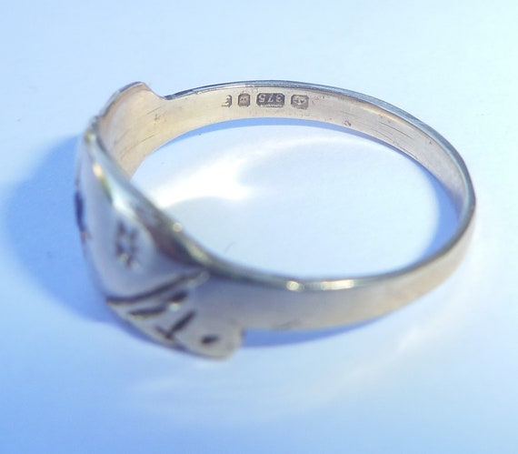 Antique Style 9ct Gold Sapphire Ring, Size K1/2 - image 7