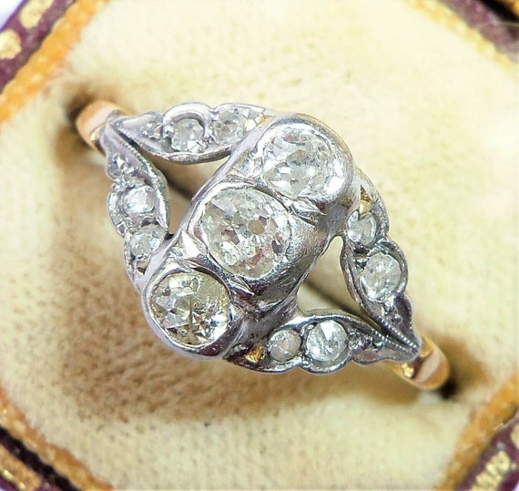Antique Victorian 18ct Gold Platinum & Diamond Rin
