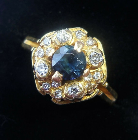 Antique 18ct Gold Sapphire & Diamond Ring, Size L1