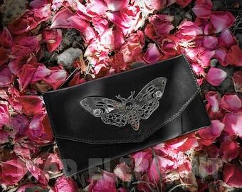 leather gothic wallet clutch with death head hawk moth symbol