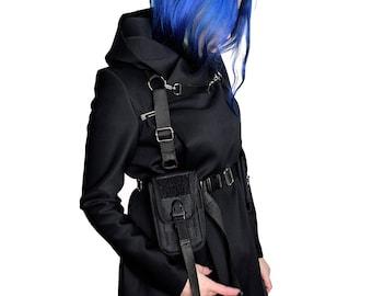 Cyberpunk hooded harness techwear industrial outerwear