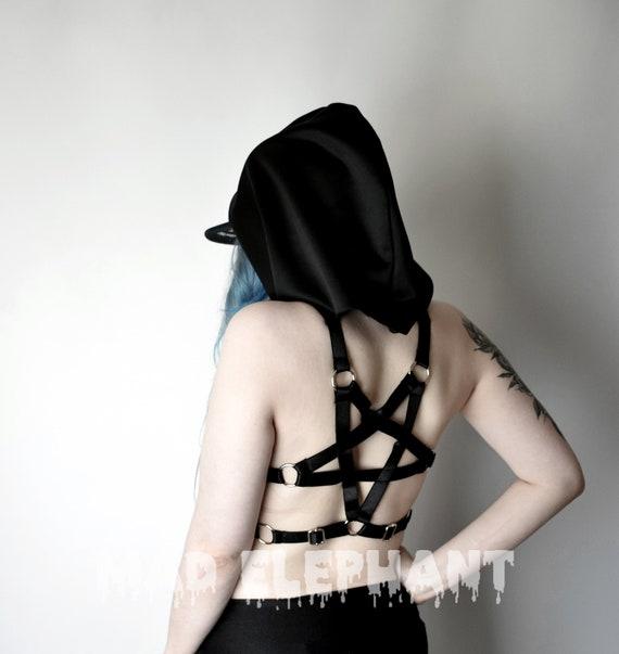 Hooded harness body bondage with hood satin bra harness