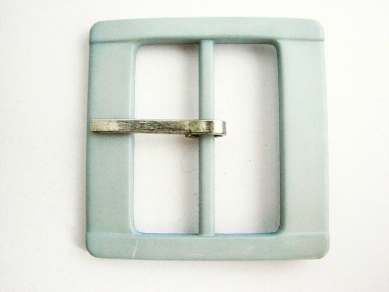Square teal blue buckle for 40 mm belts