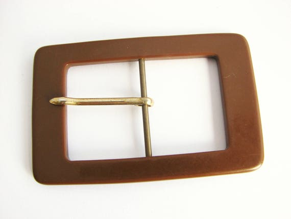 tall belt buckle for 42 mm 1 158 belts Vintage casein buckle in brown colour