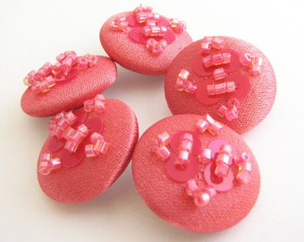 5 coral red buttons, 1 inch fabric covered buttons embellished with sequins, unused!!